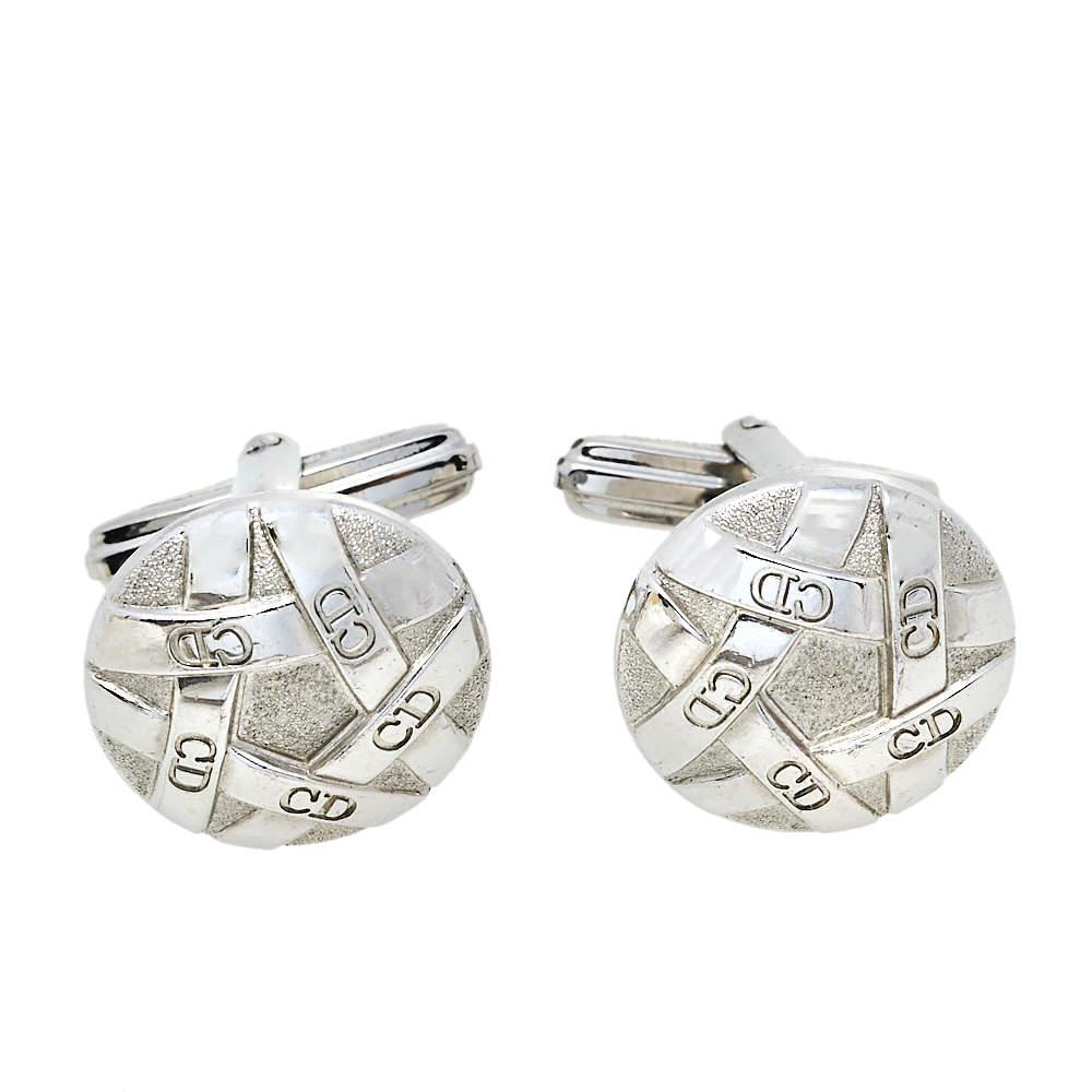 Dior Silver Tone Round Cufflinks