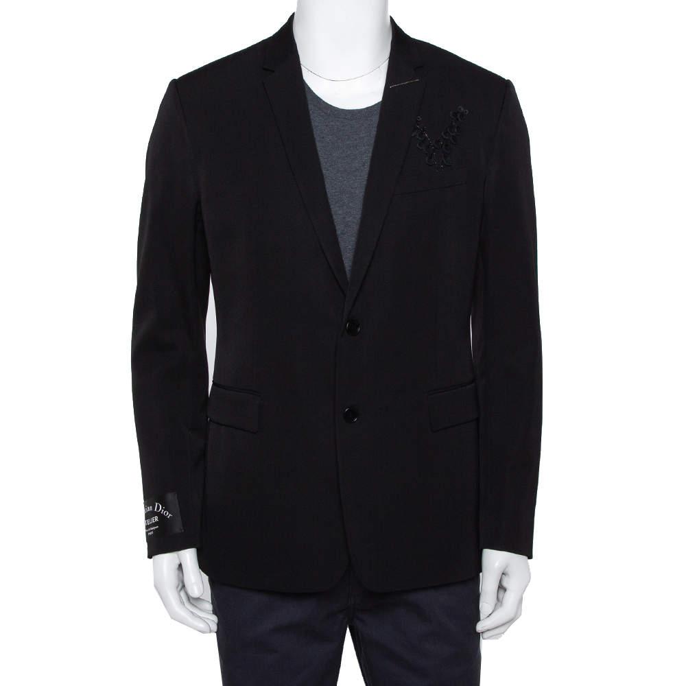 Dior Homme Black Wool Embellished Button Front Blazer XL
