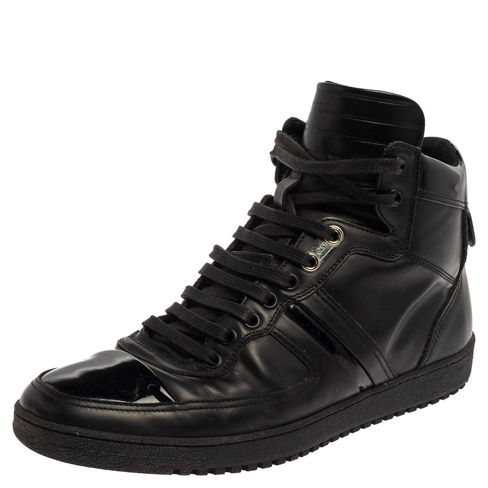 Dior Black Leather And Patent High Top Sneakers Size 40