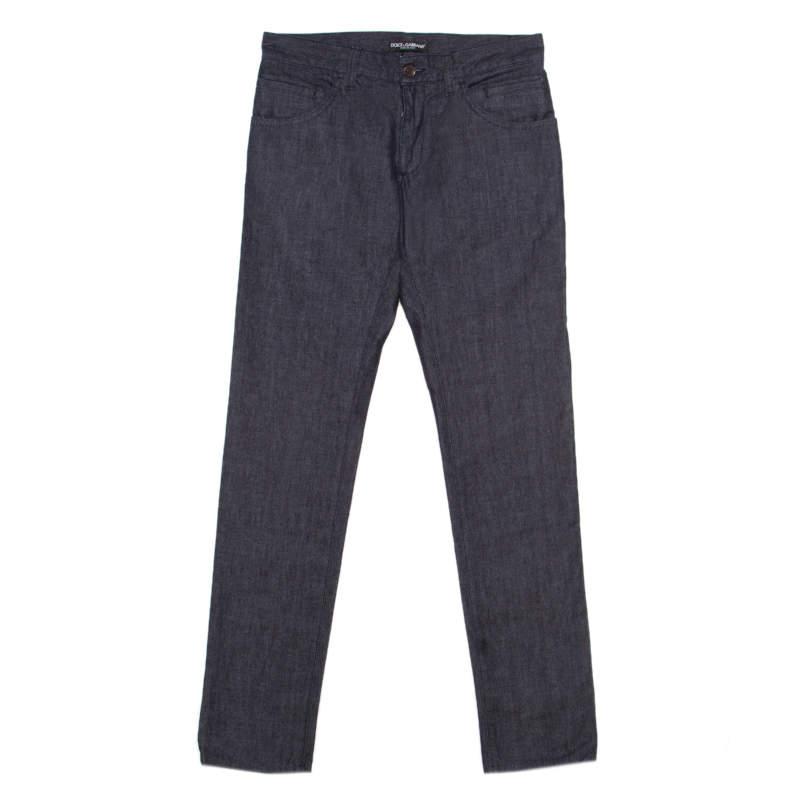 Dolce & Gabbana 14 Gold Indigo Dark Wash Denim Straight Fit Jeans XS