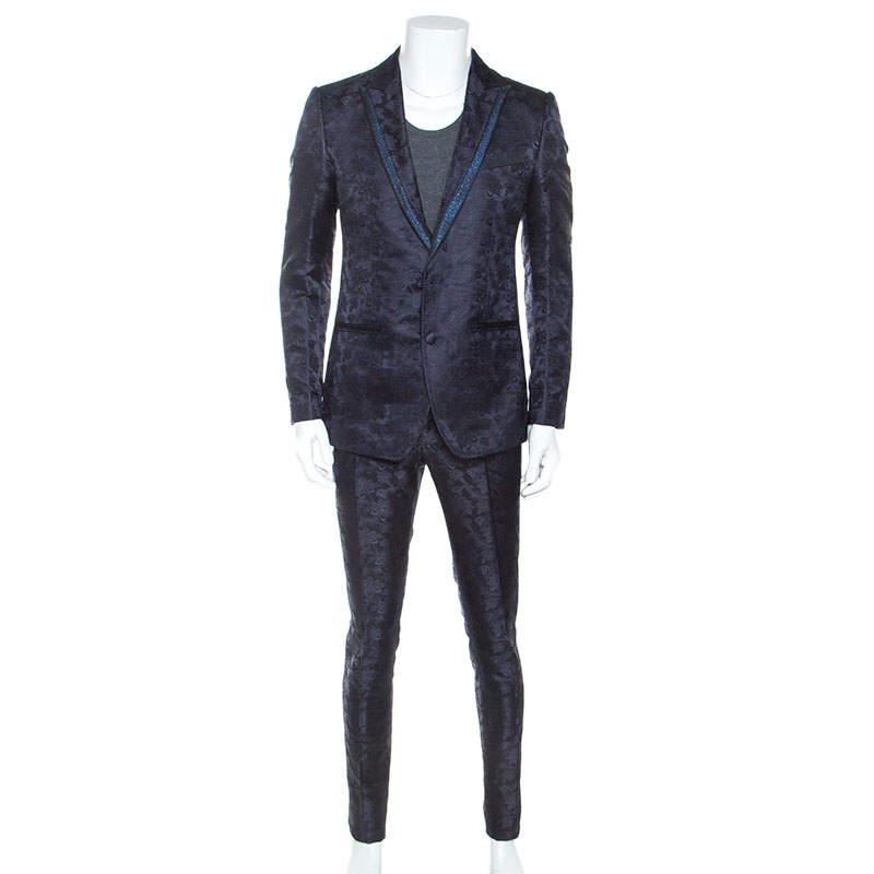 Dolce & Gabbana Midnight Blue Jacquard Suit M