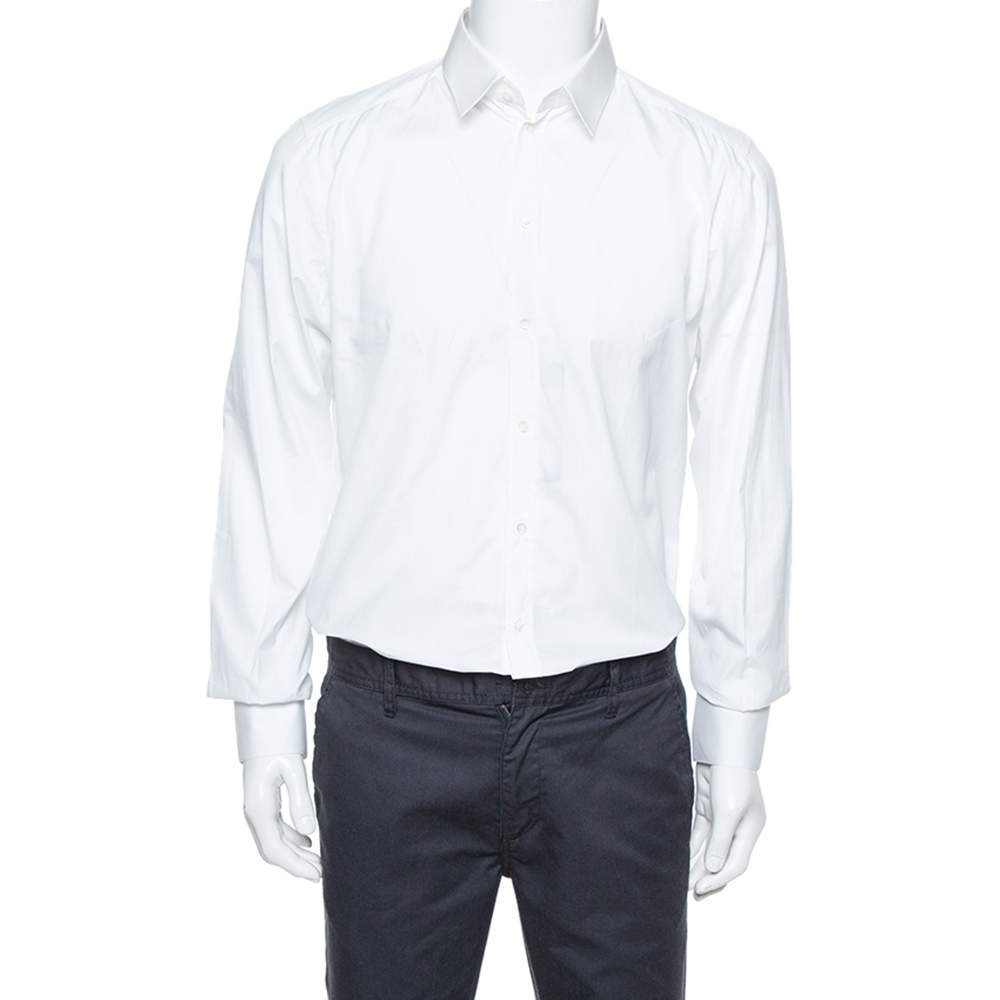 Dolce & Gabbana Gold White Cotton Long Sleeve Button Front Shirt XL