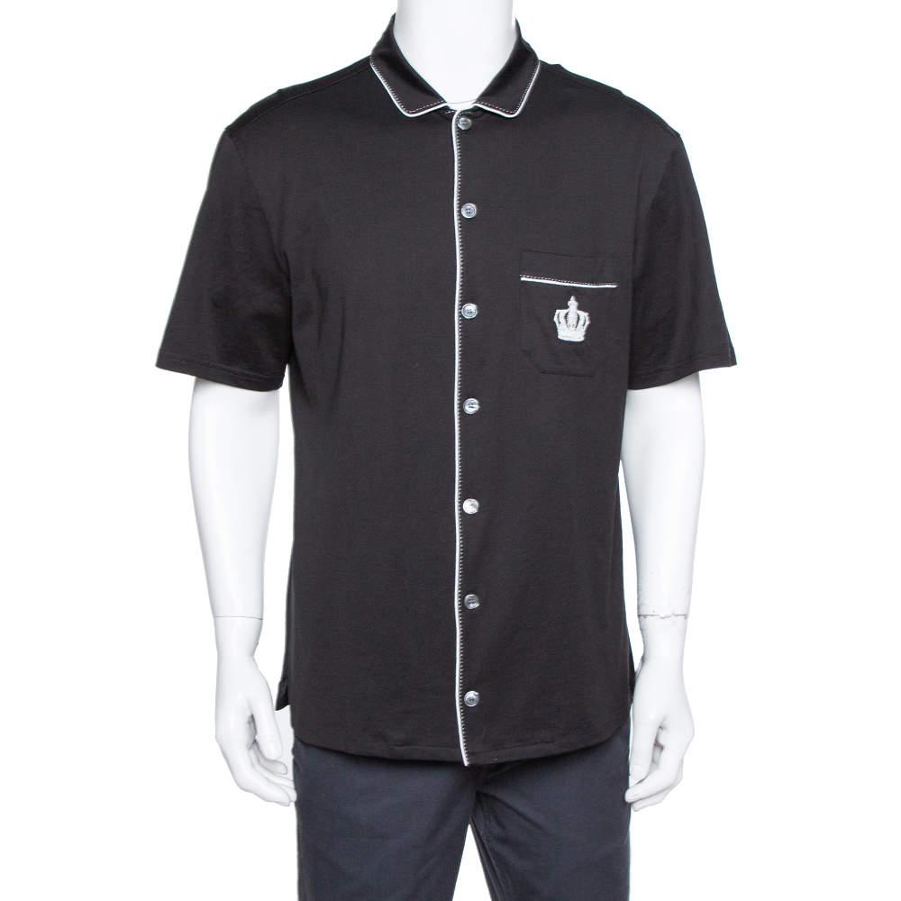 Dolce & Gabbana Black Cotton Jersey Crown Embroidered Shirt L