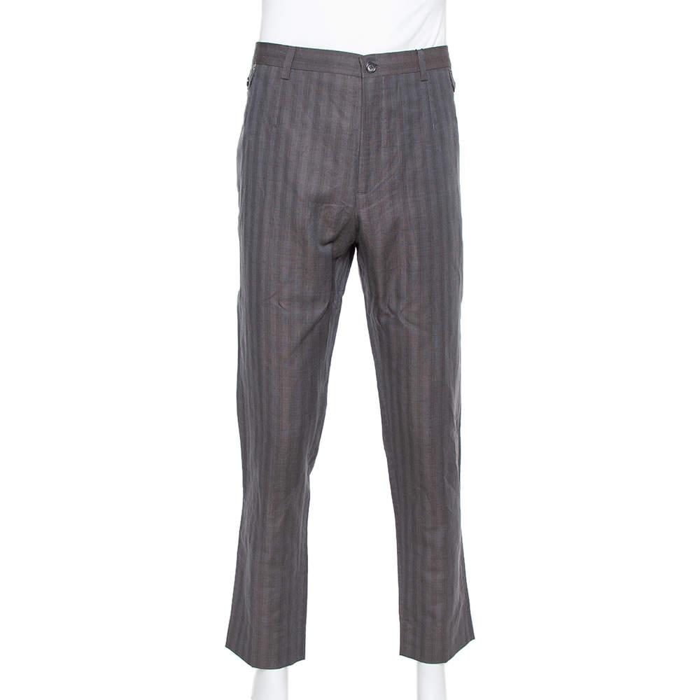 Dolce & Gabbana Brown Flax Dupplin Plaided Classic Trousers 4XL