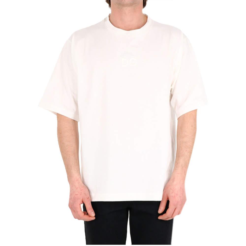 تي شيريت دولتشي أند غابانا مزين شعار الماركة أبيض مقاسكبير جداً (اكس لارج)