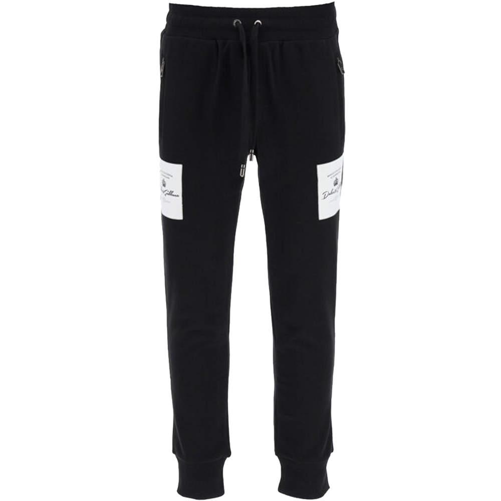 Dolce & Gabbana Black Logo patch Sweat Pants Size EU 44