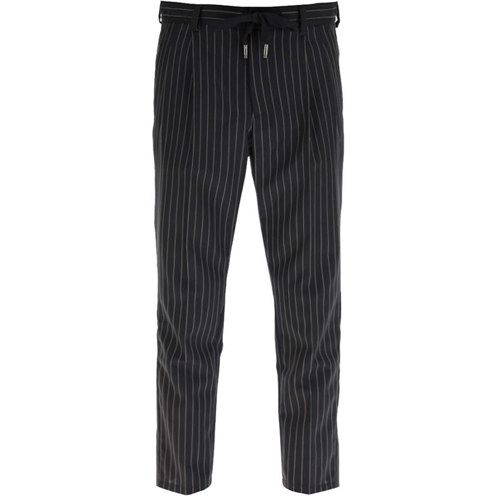 Dolce & Gabbana Black Pinstriped Wool Jogging Trousers Size IT 52