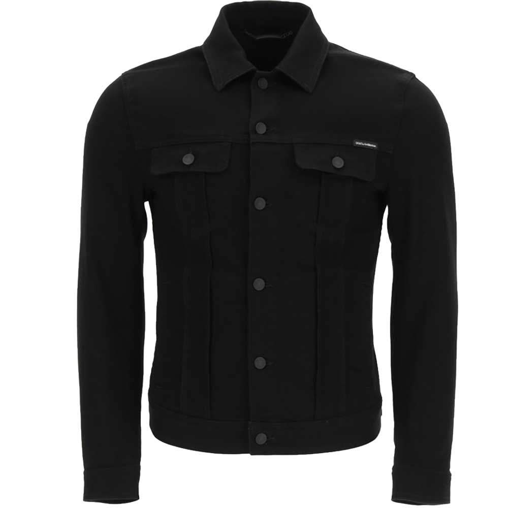 Dolce & Gabbana Black Denim Jacket With Embossed Logo Size IT 46