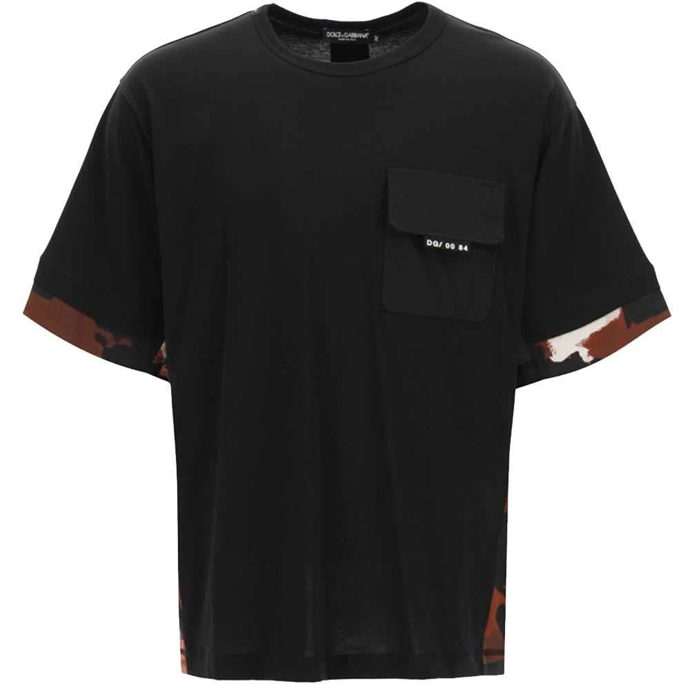 Dolce & Gabbana Black T-Shirt Camouflage Size M