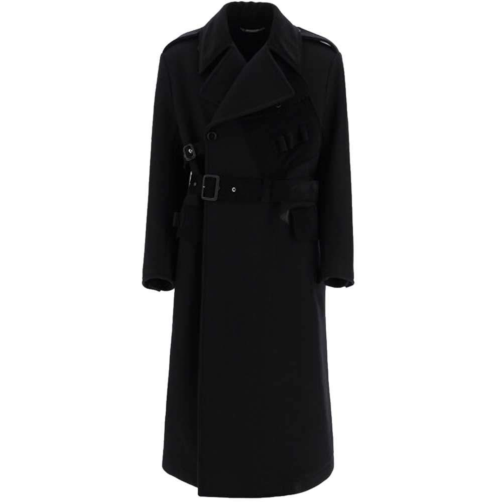 Dolce & Gabbana Black Belted Double-Breasted Coat Size EU 48