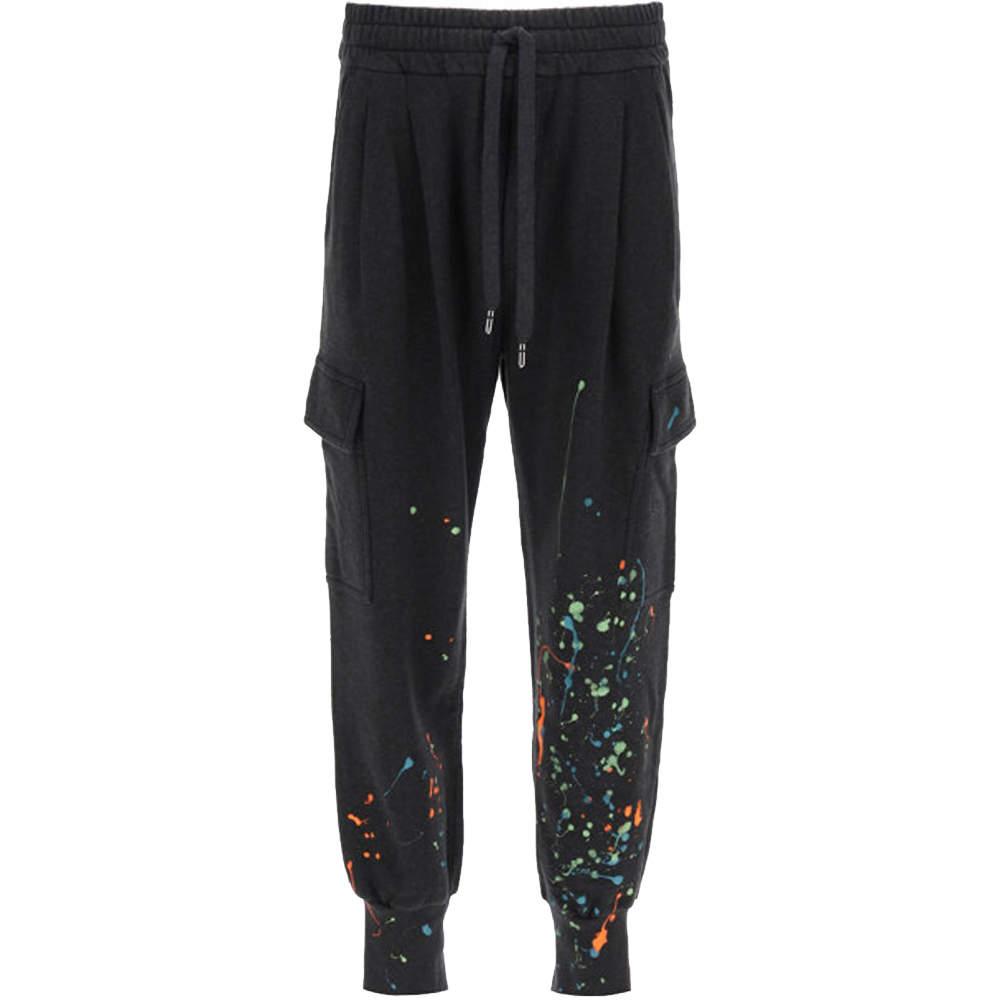 Dolce & Gabbana Black Dripping Color Effect Jogging Pants Size EU 48
