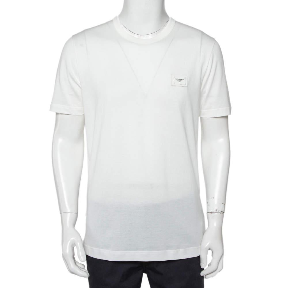 Dolce & Gabbana White Cotton Logo Patch Detail Crewneck T-Shirt L