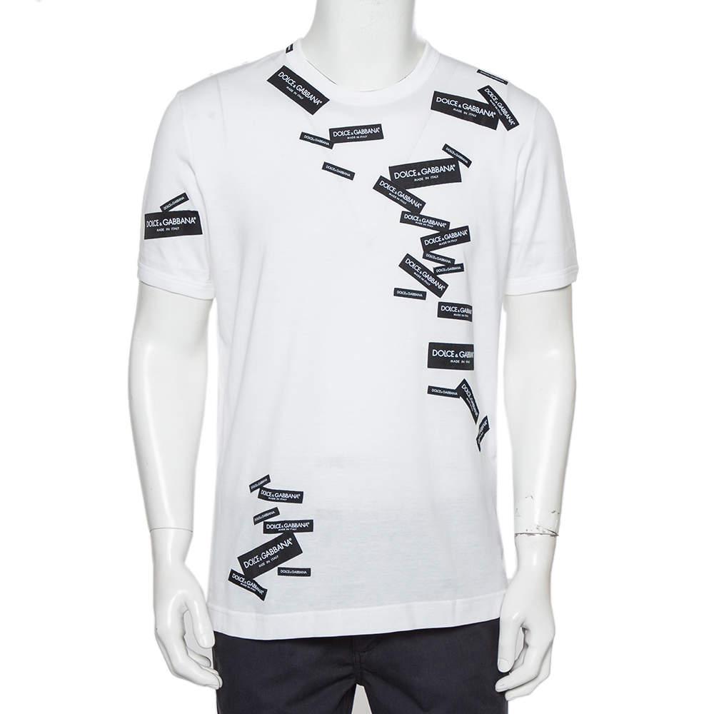 تي شيرت دولتشي أند غابانا رقبة مستديرة قطن تفاصيل رقعة شعار أبيض مقاس كبير
