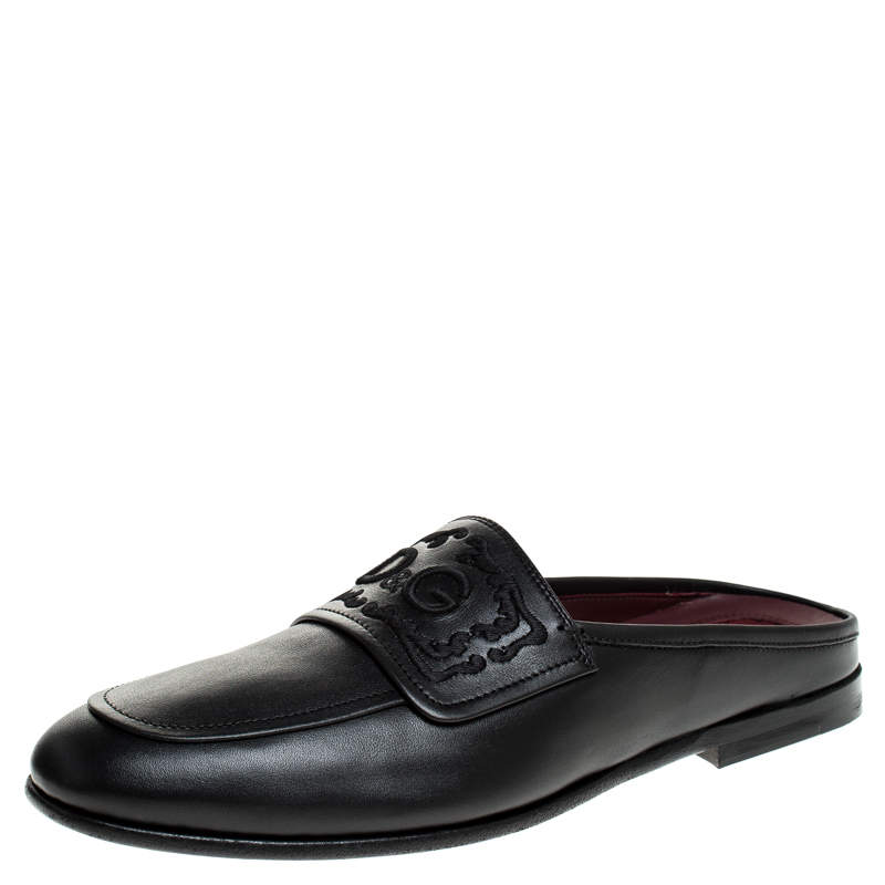 Dolce & Gabbana Black Leather King City Slip On Mule Loafers Size 42.5