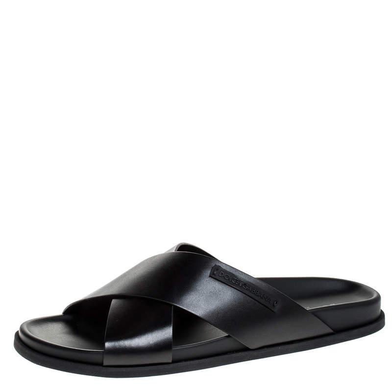 Dolce & Gabbana Black Leather Cross Strap Sandals Size 41