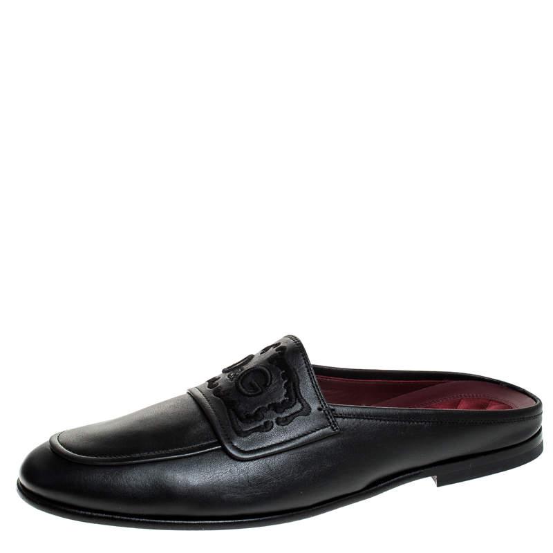 Dolce & Gabbana Black Leather Embroidered Logo Slip On Mules Size 43.5