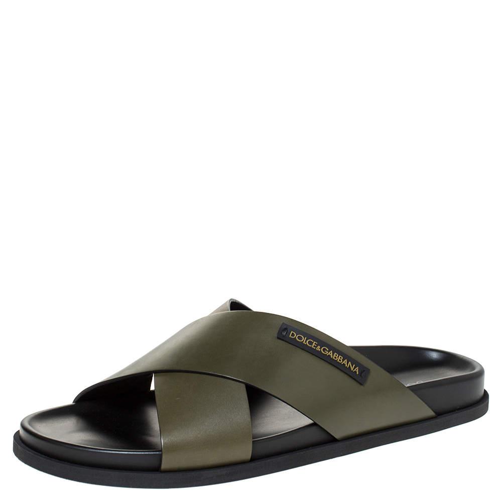 Dolce & Gabbana Green Leather Criss-Cross Slide Sandals Size 42