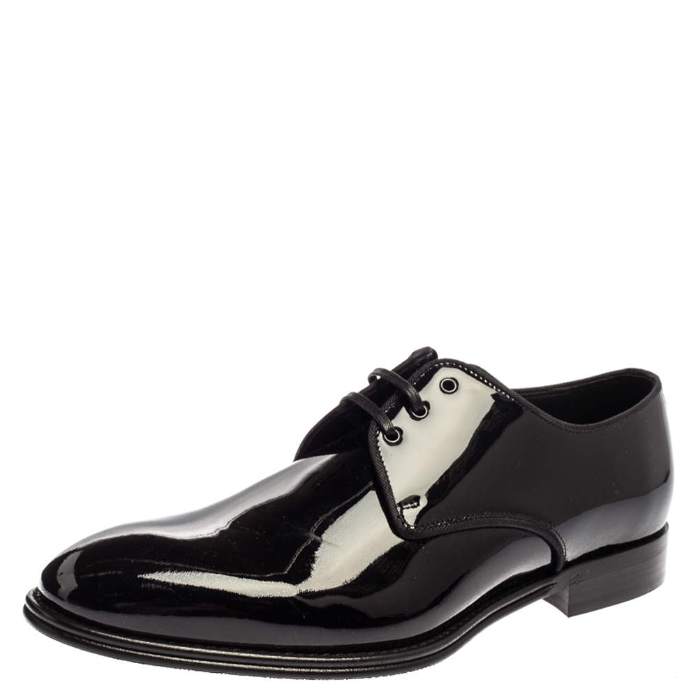 Dolce and Gabbana Black Patent Leather Lace Up Oxfords Size 41.5