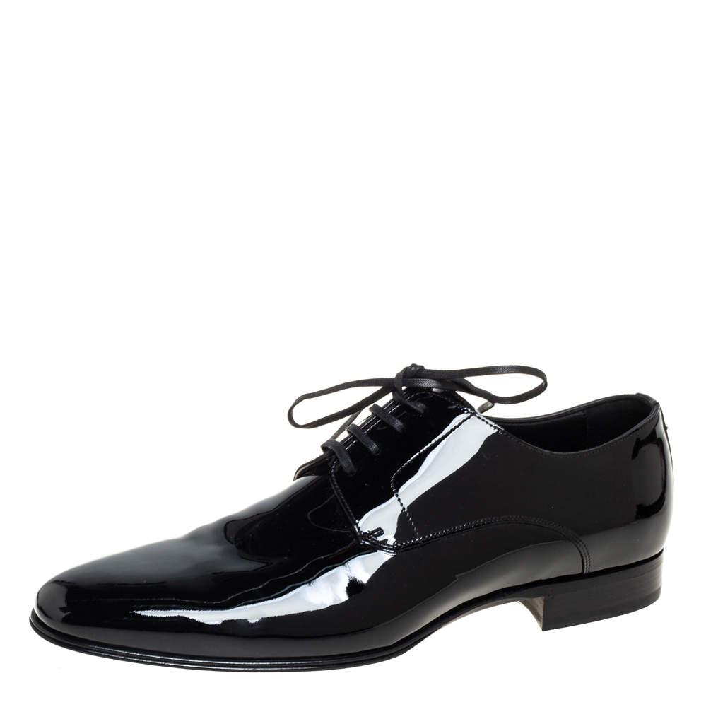 Dolce & Gabbana Black Patent Leather Lace Up Derby Size 43