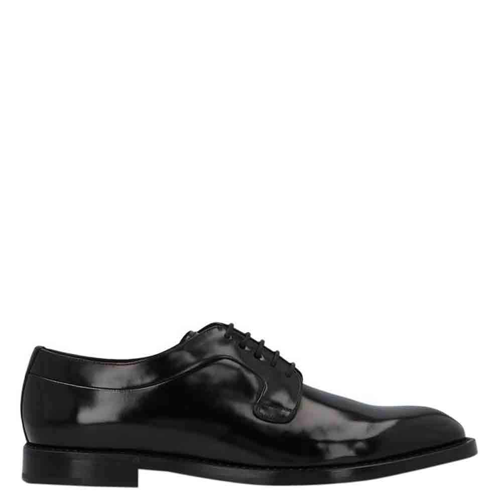 Dolce & Gabbana Black Brushed Calfskin Derby Size EU 45