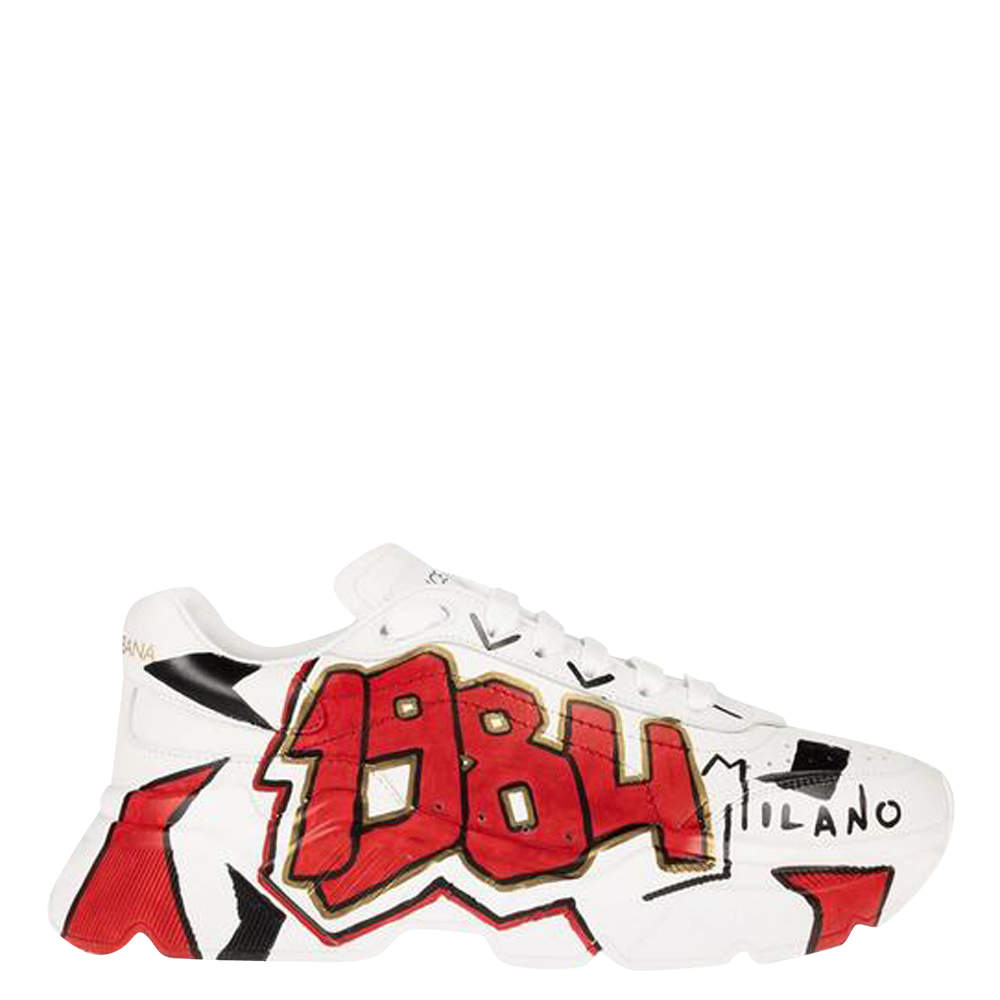 Dolce & Gabbana White Painted Leather Daymaster Sneakers Size EU 40.5