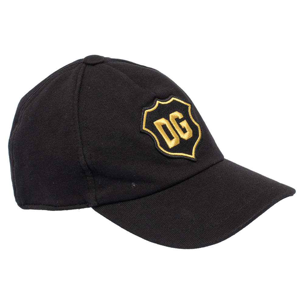 Dolce & Gabbana Black DG Crest Cotton Jersey Baseball Cap