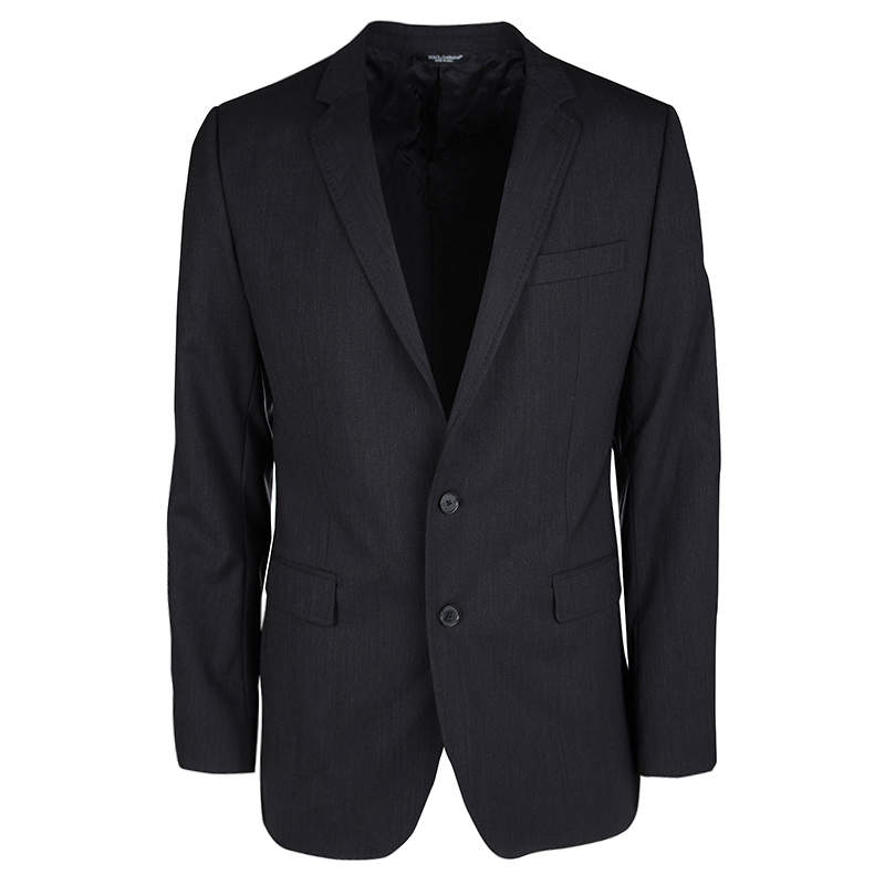 Dolce & Gabbana Martini Black Wool Tailored Two Button Blazer XL