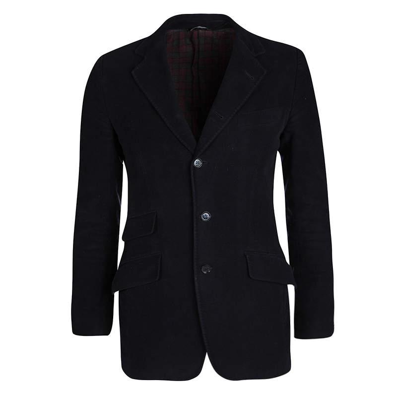 Dolce & Gabbana Navy Blue Cotton Tailored Blazer S