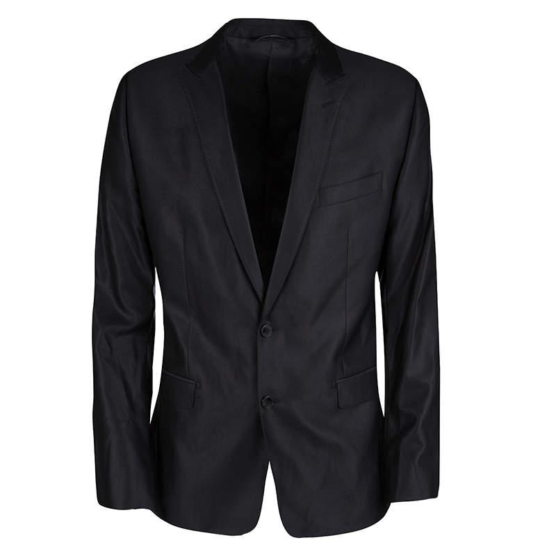 Dolce & Gabbana Black Wool Silk Tailored Martini Blazer XL