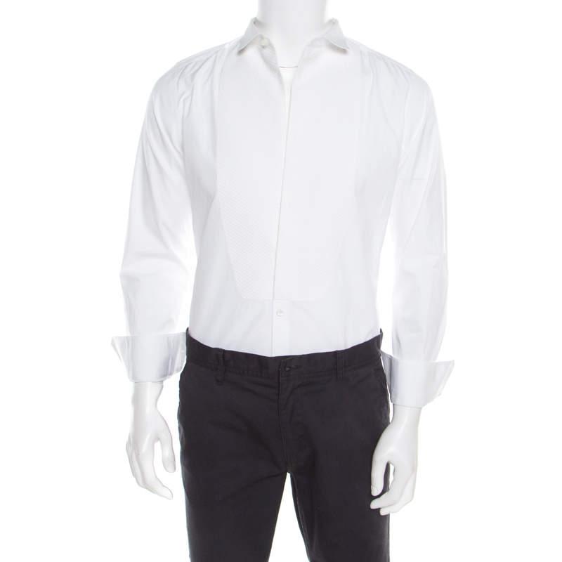 Dolce & Gabbana Gold Optic White Cotton Textured Bib Detail Tuxedo Shirt M