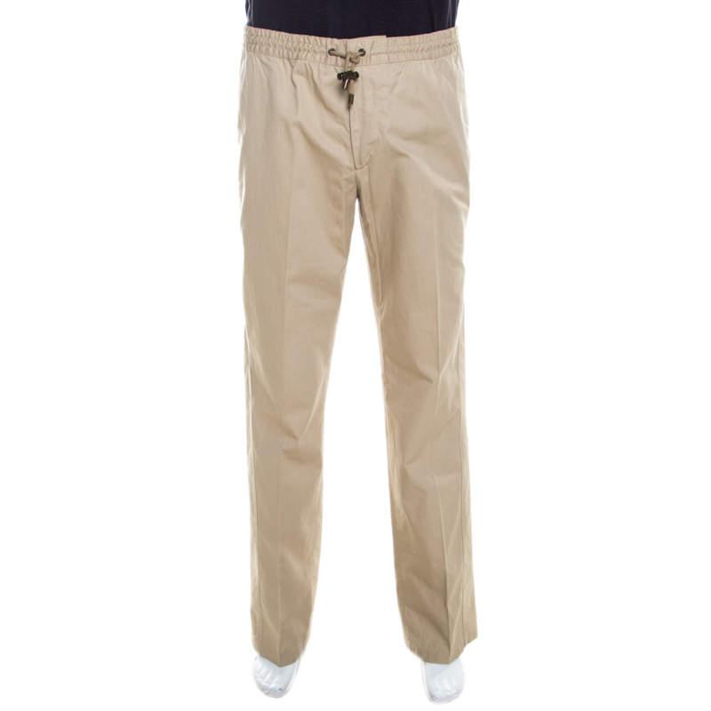 Dolce & Gabbana Beige Cotton Drawstring Waist Straight Fit Trousers L