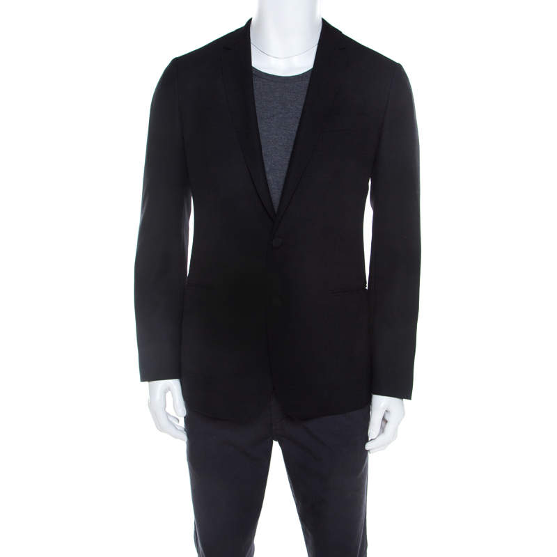 Dolce & Gabbana Martini Black Textured Wool Tailored Blazer M