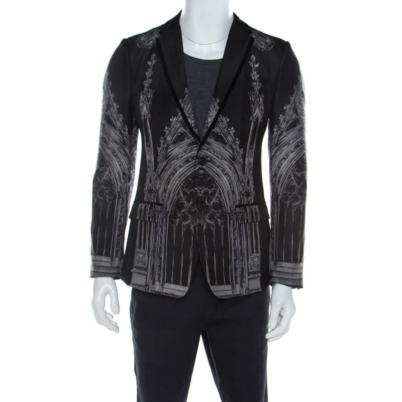 Dolce & Gabbana Black Cathedral Print Cotton Silk Tailored Blazer S