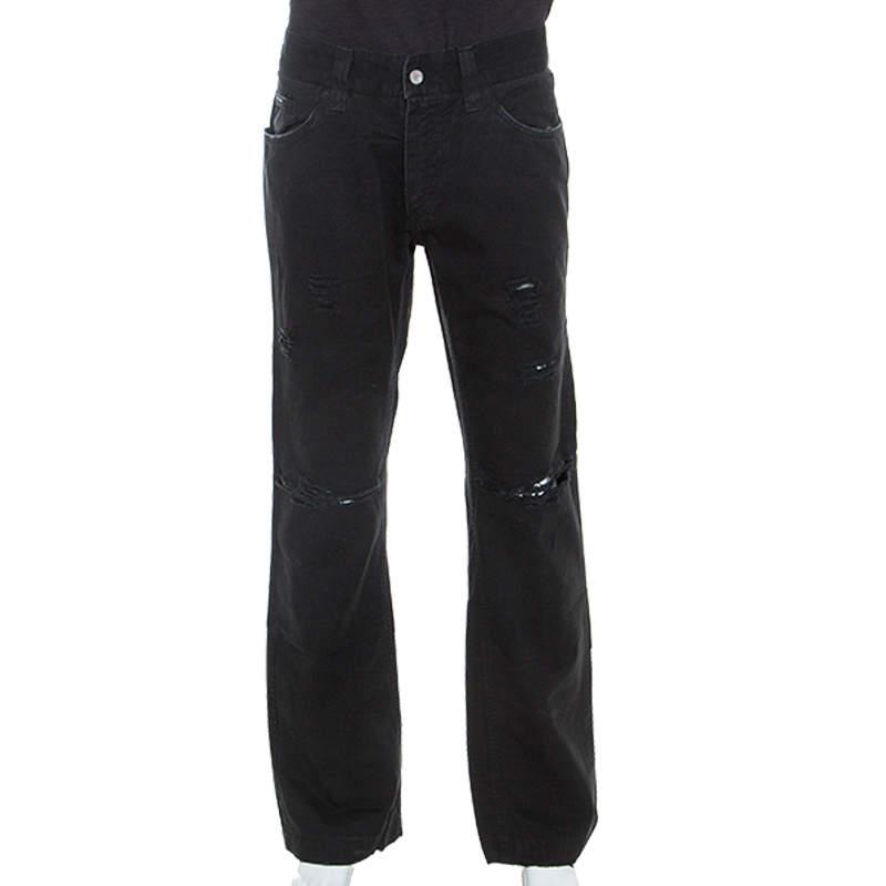 Dolce & Gabbana Black Distressed Denim Jeans XL