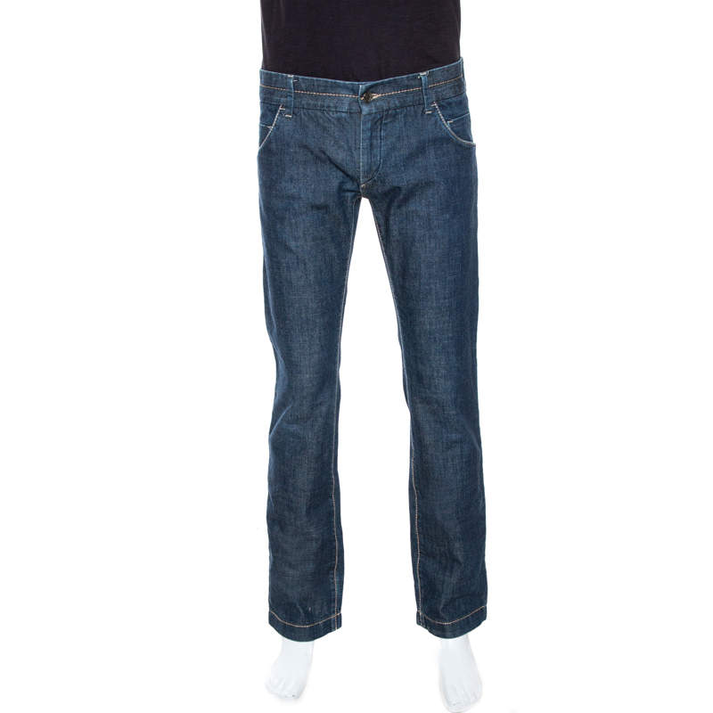 Dolce & Gabbana Blue Denim Straight Leg Jeans M