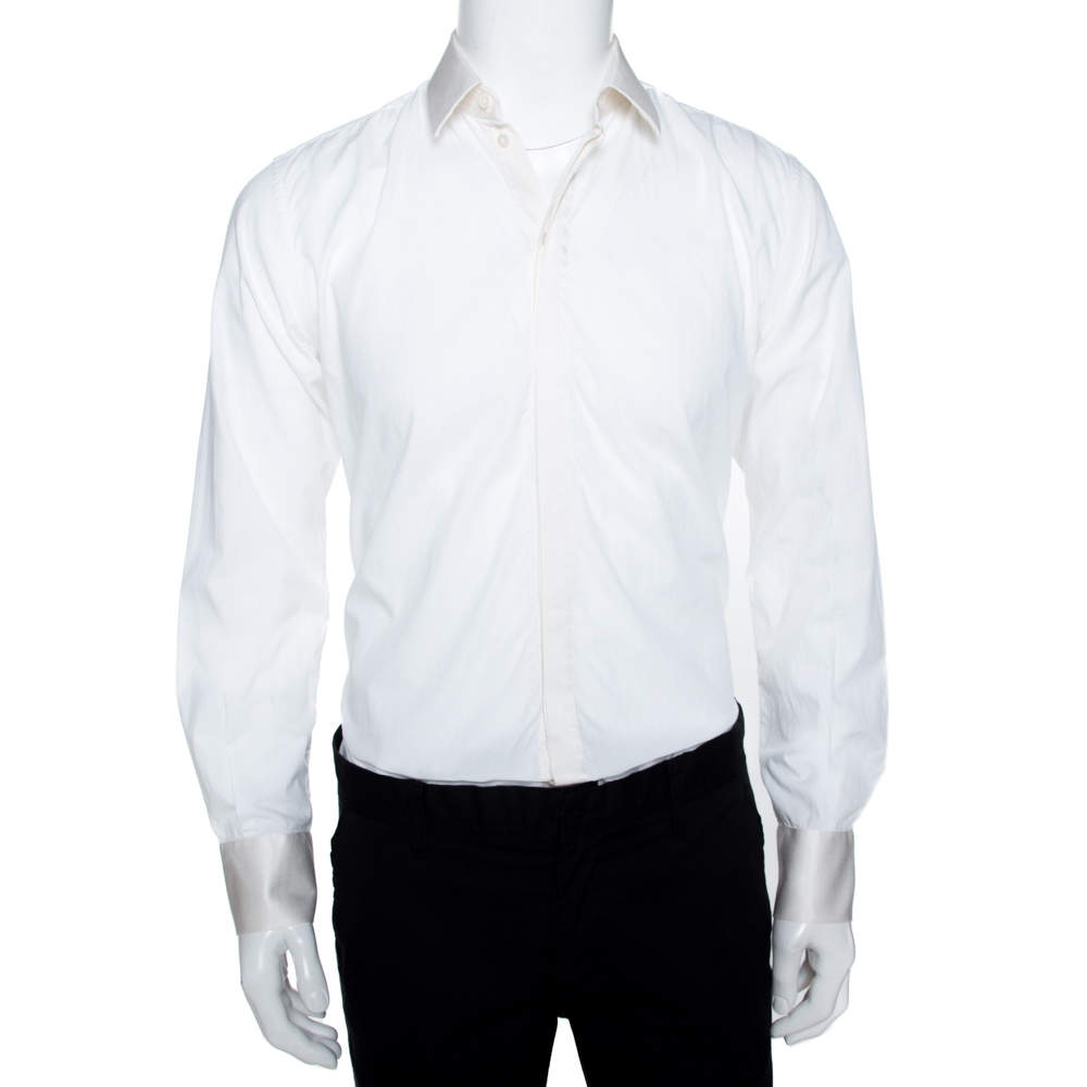 Dolce & Gabbana Martini Off White Cotton Silk Button Front Shirt S