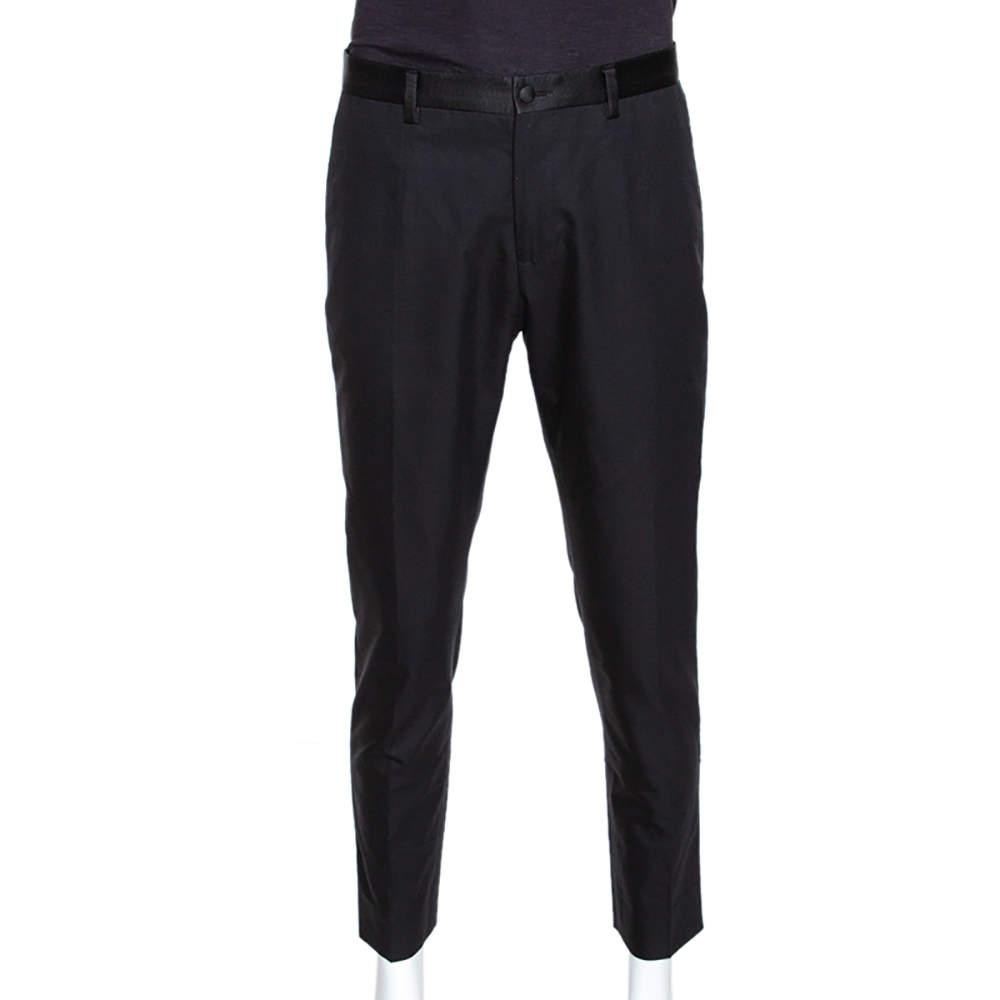 Dolce & Gabbana Black Cotton Silk Grosgrain Trim Tailored Trousers L