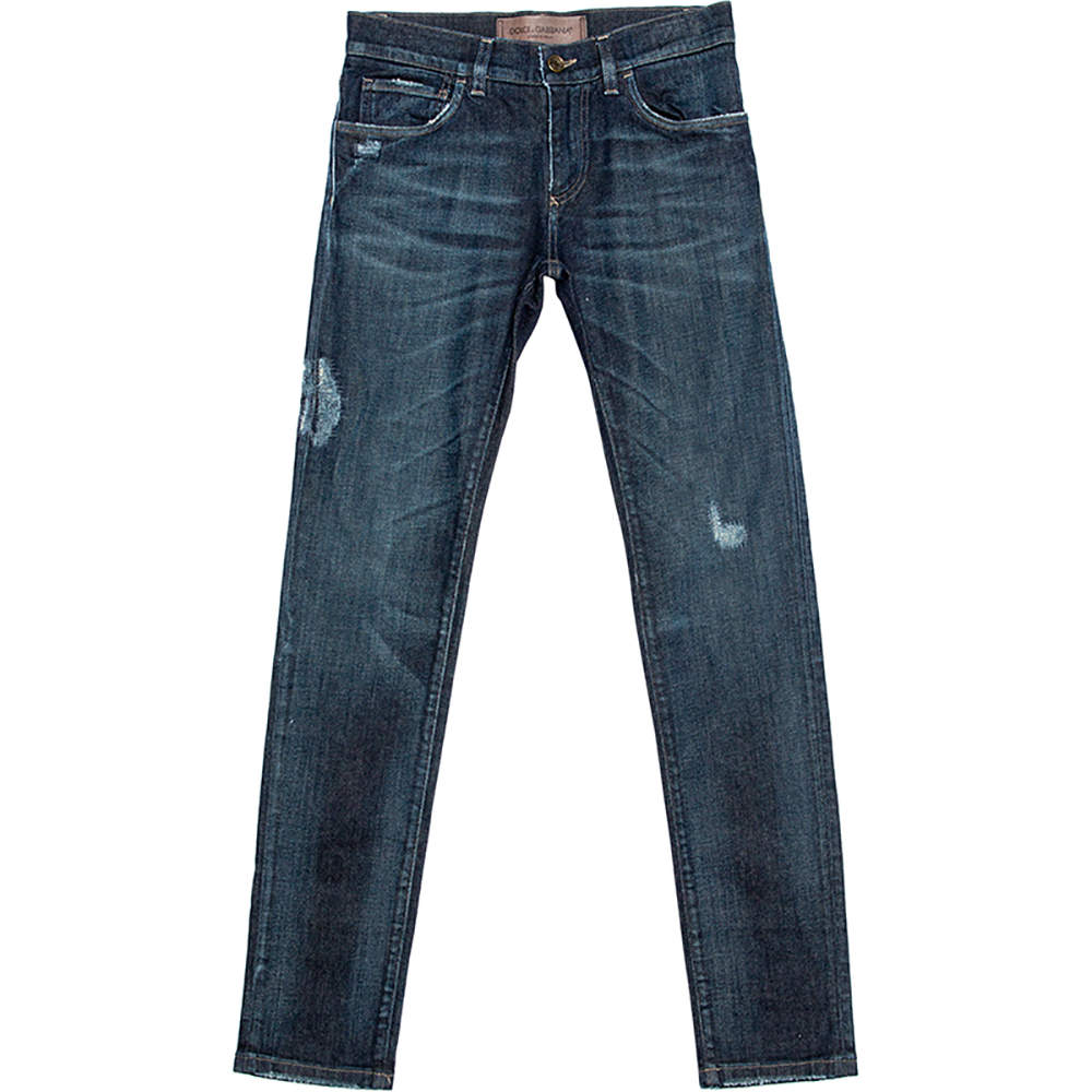 Dolce & Gabbana Indigo Faded Effect Denim Distressed Jeans S