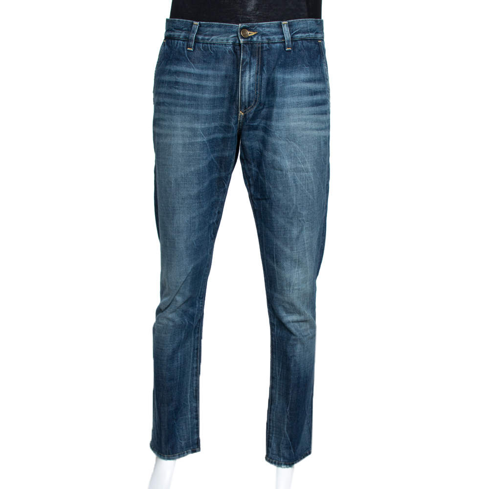 Dolce & Gabbana 14 Gold Blue Faded Effect Denim Fitted Jeans L