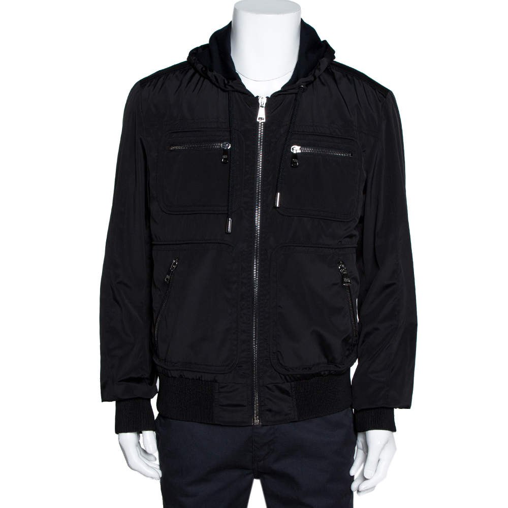 Dolce & Gabbana Dark Brown Hooded Bomber Jacket XXL