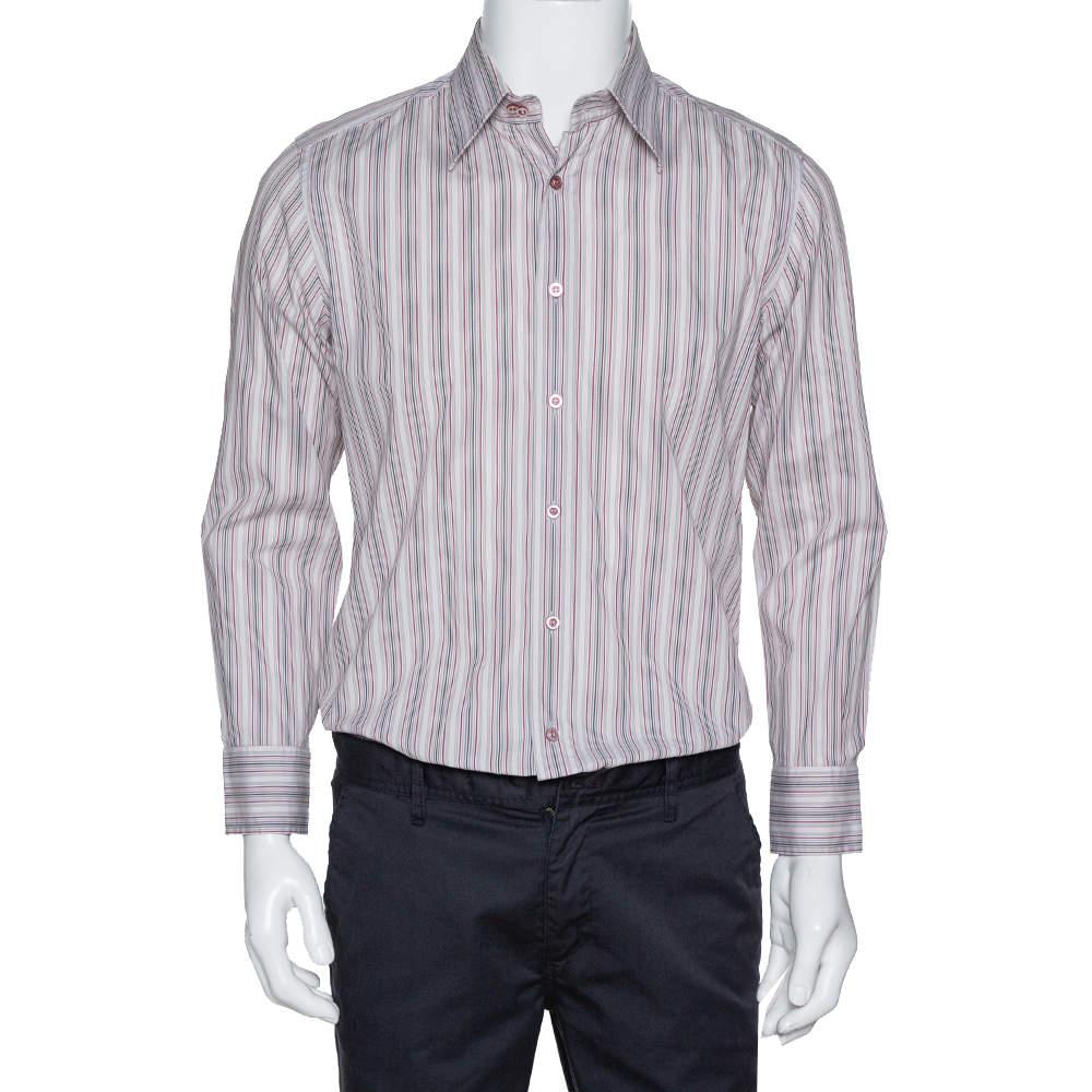 Dolce & Gabbana Dusty Pink Striped Cotton Button Front Shirt L