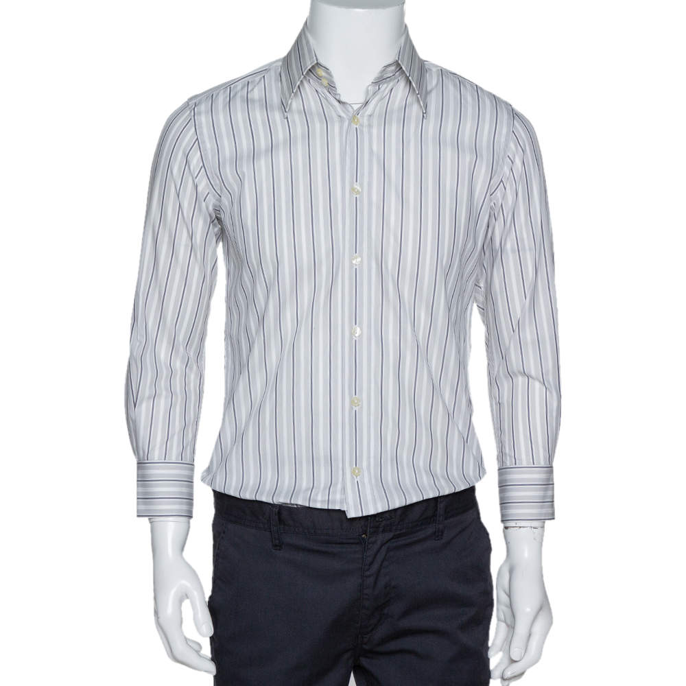 Dolce & Gabbana Pale Grey Striped Cotton Button Front Shirt S