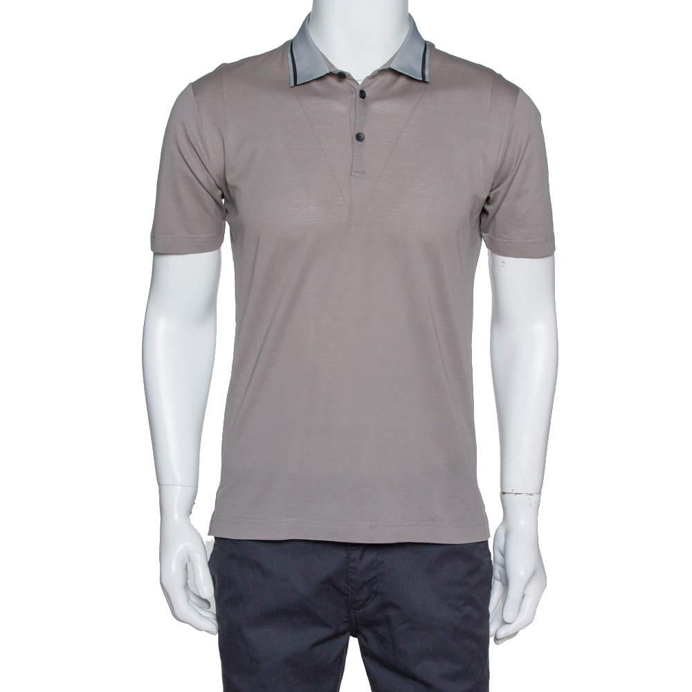 Dolce & Gabbana Taupe Cotton Pique Grosgrain Collar Polo T Shirt S