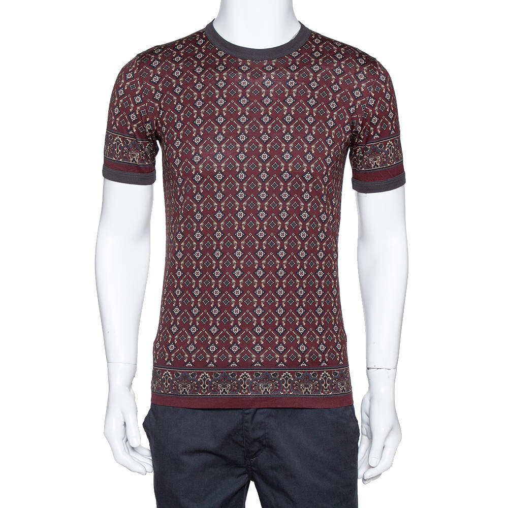 Dolce & Gabbana Burgundy Geometric Printed Cotton Crew Neck T Shirt M