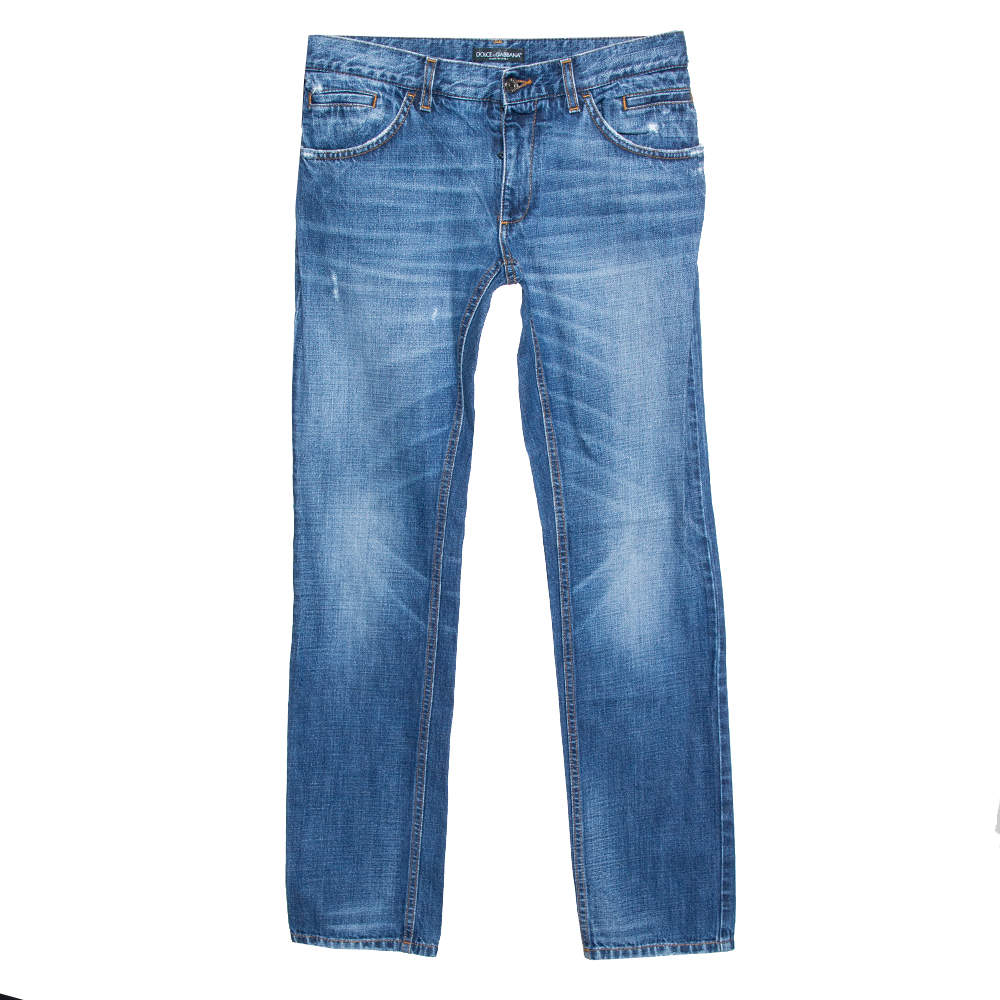 Dolce & Gabbana Blue Medium Wash Denim Distressed Jeans S