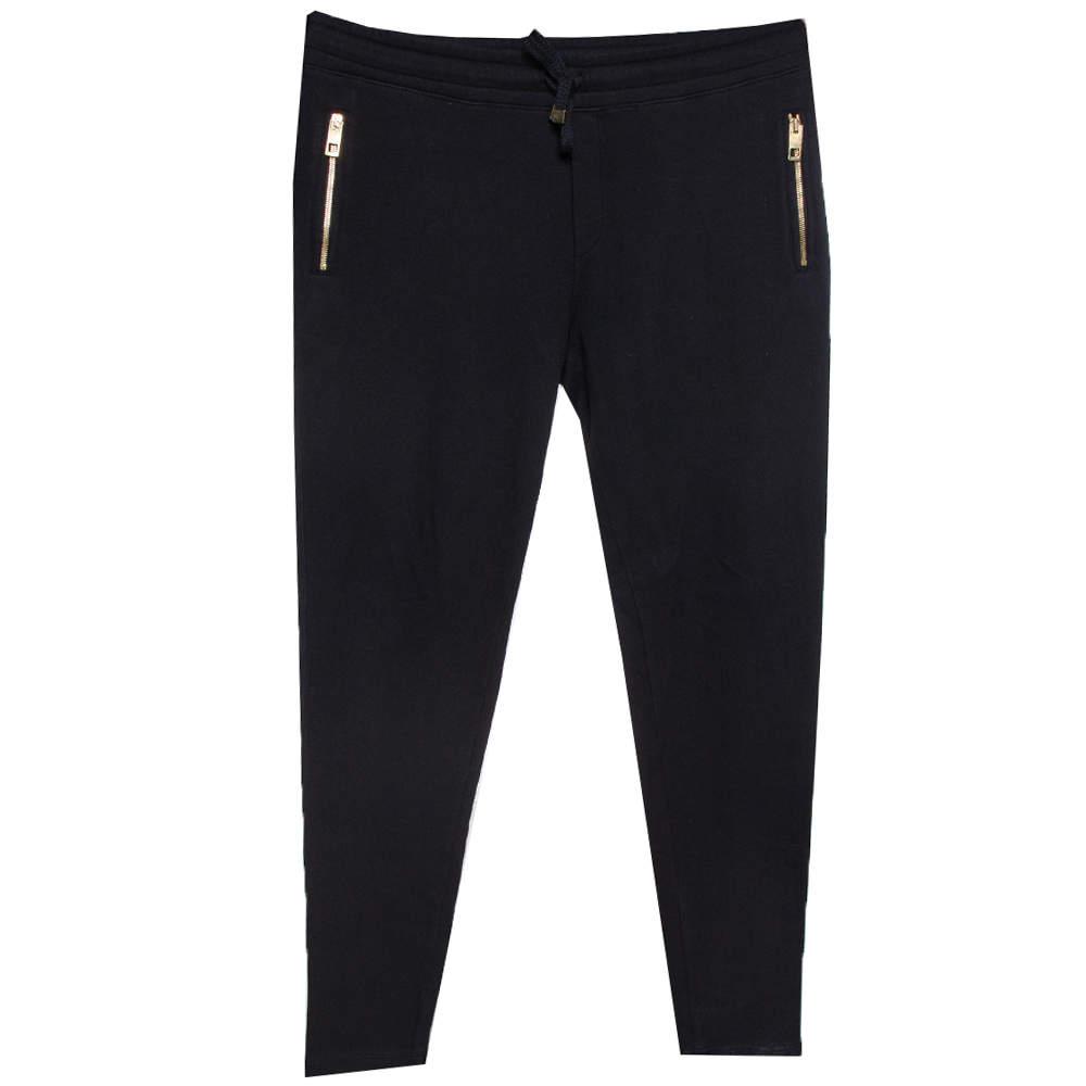 Dolce & Gabbana  Black Knit Drawstring Waist Tapered Jogger Pants L