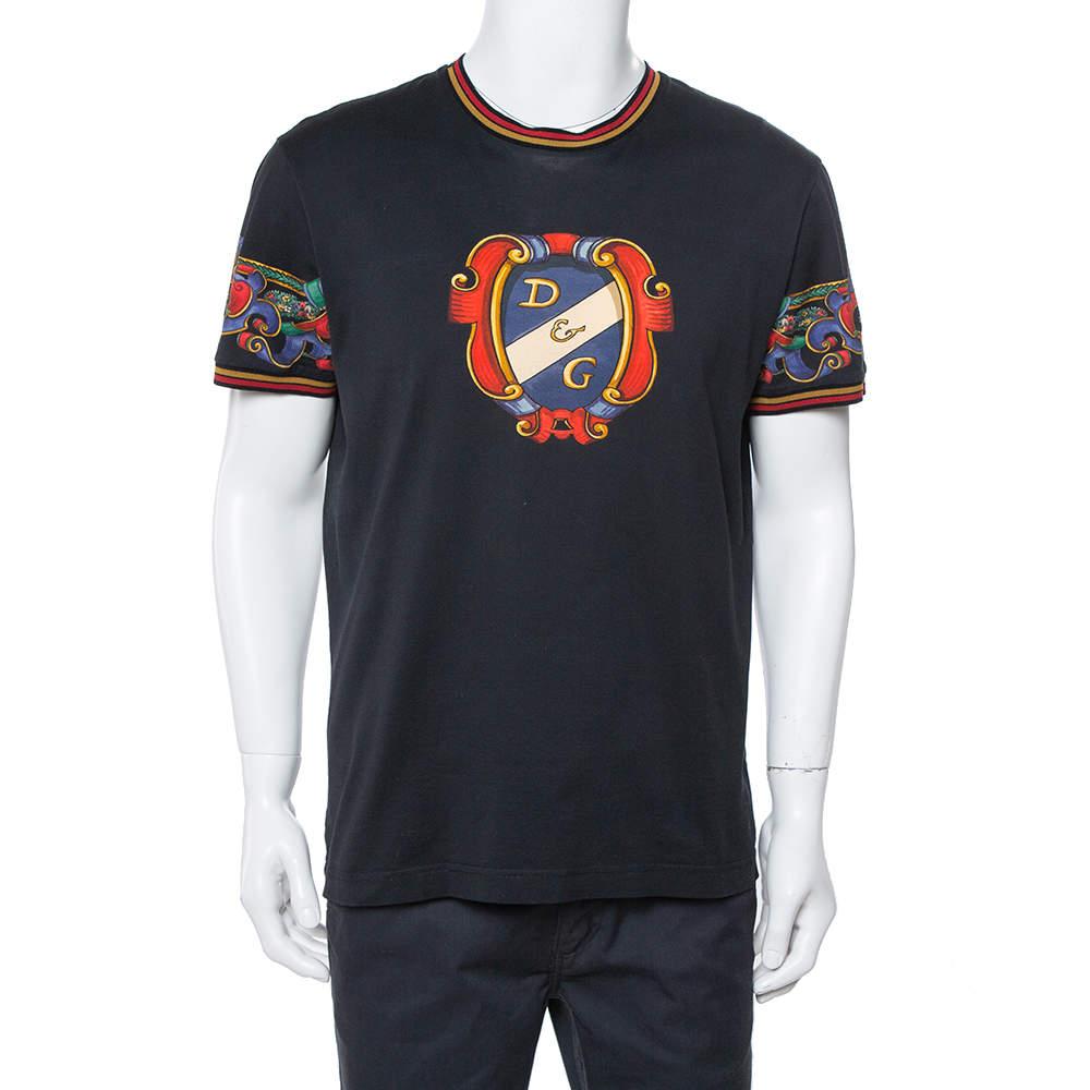 Dolce & Gabbana Black Heraldic Print Cotton Crew Neck T-Shirt XL