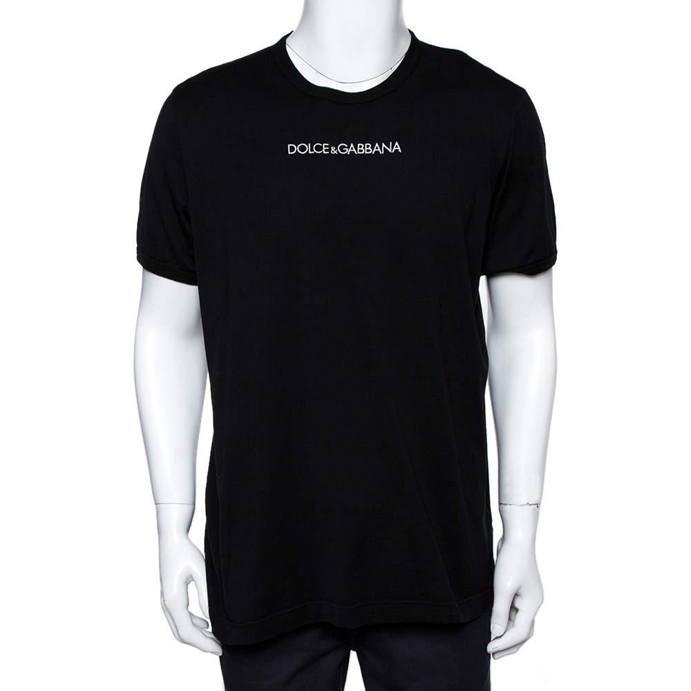 Dolce & Gabbana Black Cotton Jersey Logo Embroidered T-Shirt 4XL