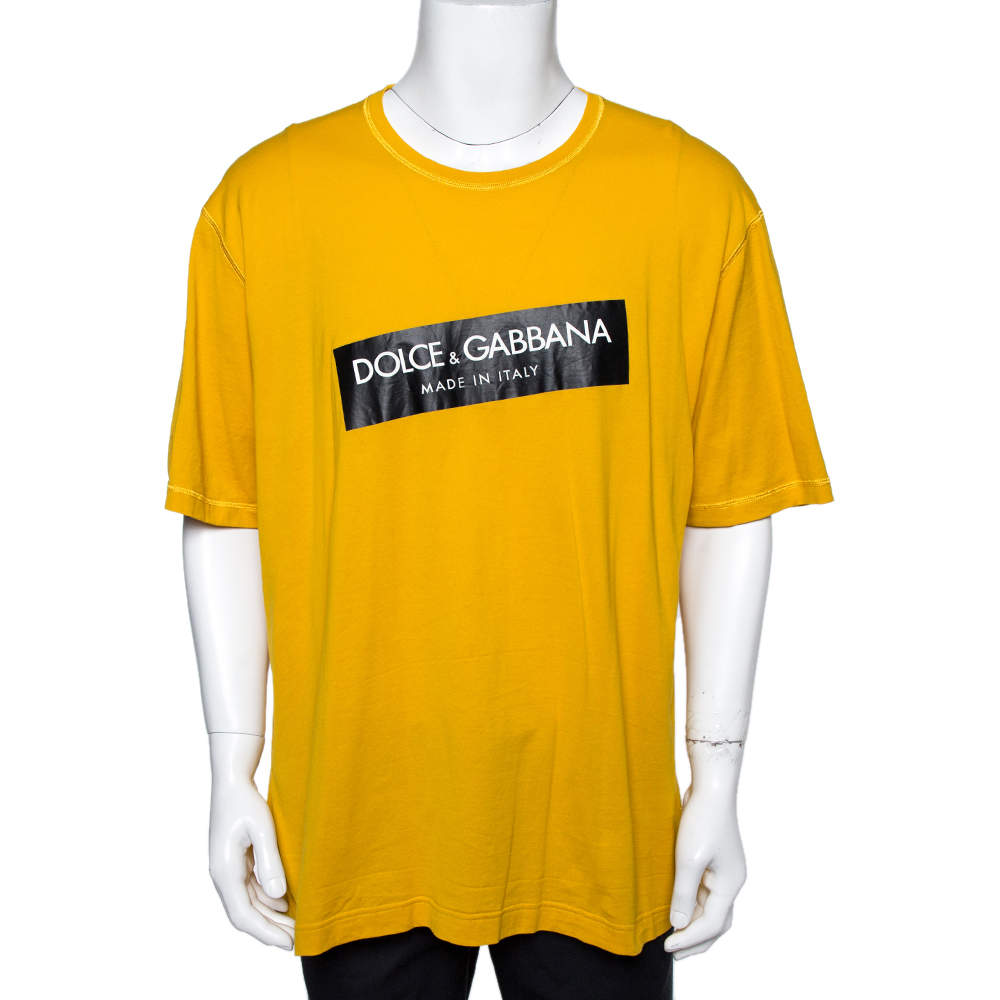 Dolce & Gabbana Yellow Logo Print Cotton Crew Neck T-Shirt 4XL