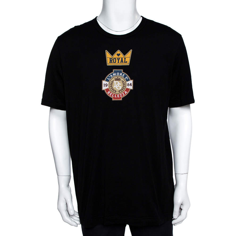 Dolce & Gabbana Black Royal Print Cotton Crew Neck T-Shirt 5XL